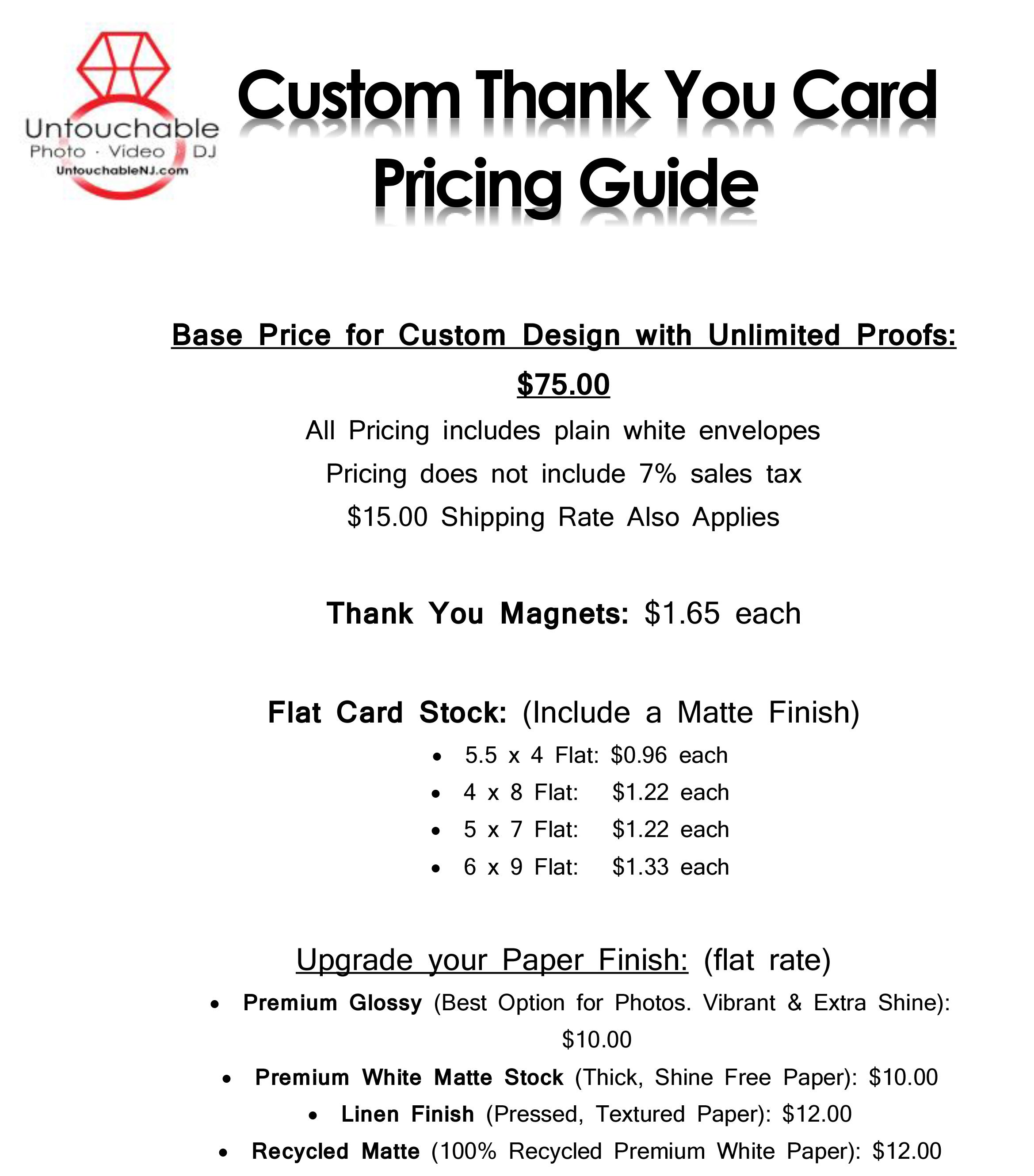 Custom Thank You Card Pricing Guide Nj Wedding